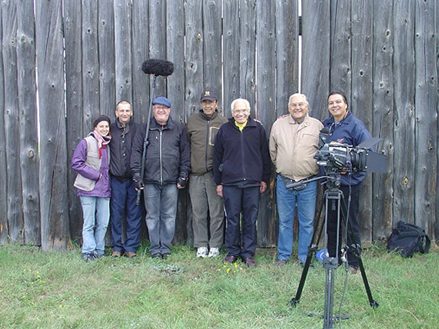 The whole film crew outside the fort at Battleford, Sask.